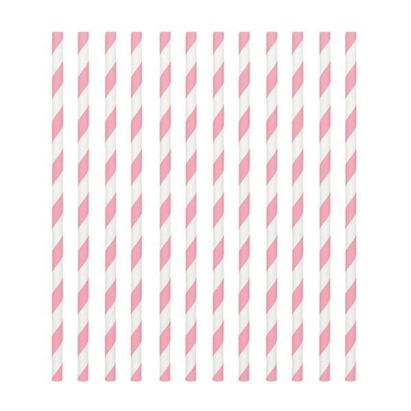 Pink Candy Stripe Paper Straws - Pack of 24