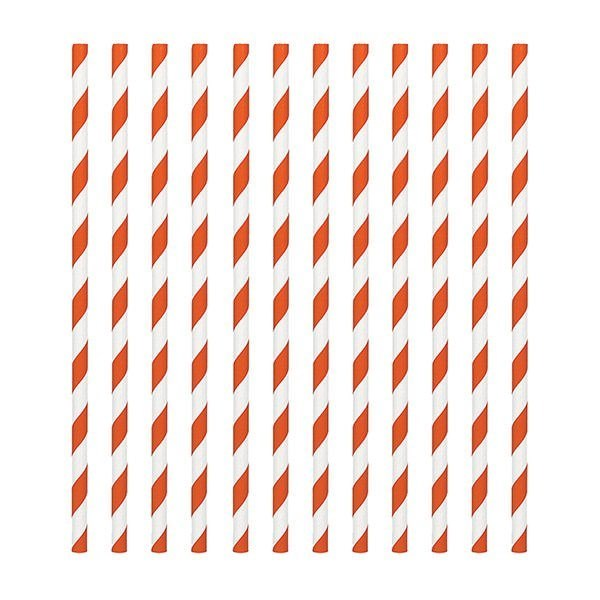 Orange Candy Stripe Paper Straws - Pack of 24
