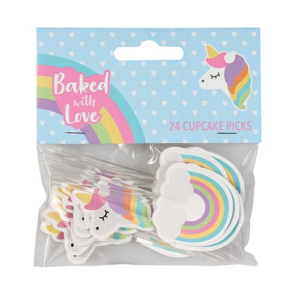 Unicorn and Rainbow Cupcake Picks by Baked with Love