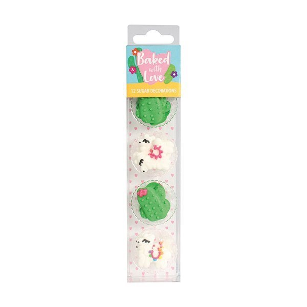 Llama and Cactus Sugar Cake Decorations by Baked with Love