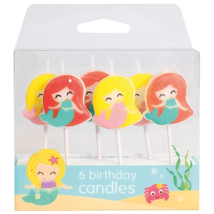Mermaid Cake Candles - Pack of 6