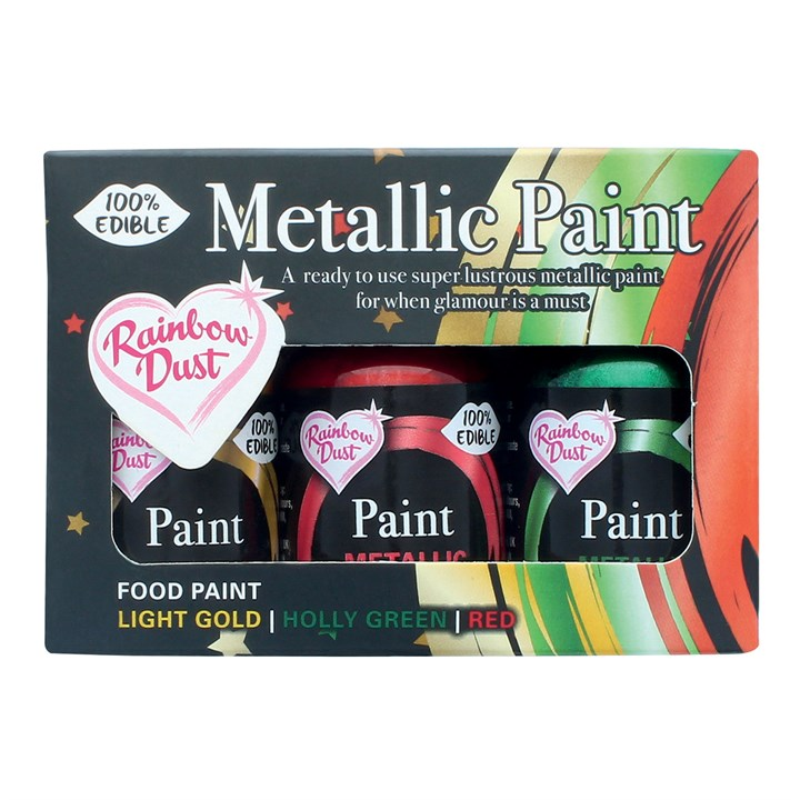 Rainbow Metallic Paint Collection - Light Gold, Holly Green and Red