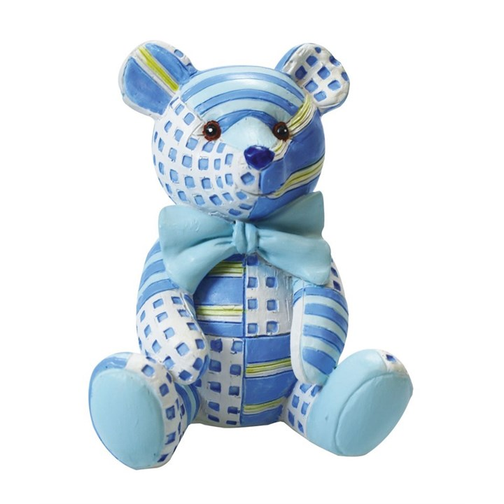 Blue Patchwork Teddy Bear Cake Topper