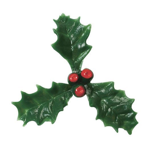 Christmas Holly and Berries Cake Decoration - 38mm - Pack of 200