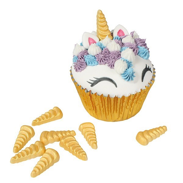 Gold Unicorn Horn Sugar Decoration - 30mm